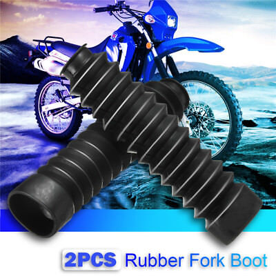 2x Universal 12mm&47mm Motorcycle Rubber Fork Shock Boot Dust Cover Gaiter Black
