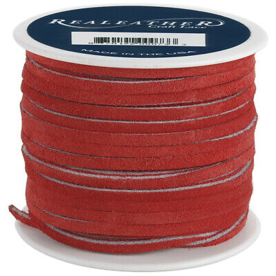 """Realeather Crafts SOS25-2010 Suede Lace .125""""X25yd Spool-Red"""