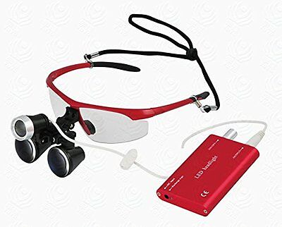 3.5X420mm Dental Surgical Medical Binocular Loupes and  LED head light Red