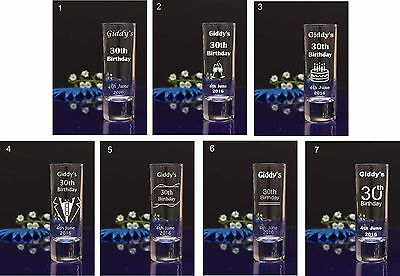 50  Personalised Happy Birthday Engraved 60ml Shot Glass or any Occasion
