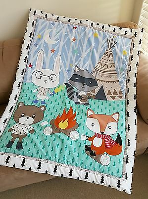 Winter Woodlands Cot Quilt or Playmat Handmade NEW