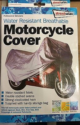 """Motorcycle Cover Large Streetwize 90"""" X 39"""" X 49"""" Silver"""