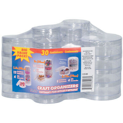 Darice Mini Stackable Plastic Craft Containers Set-Clear Round