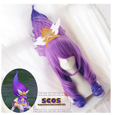 LOL League of Legends Janna Cosplay wig costume Purple colour
