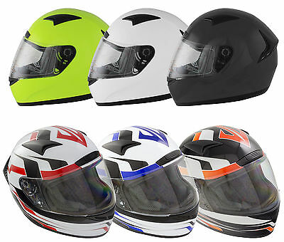 Scooter Motorbike Road Motorcycle Full Face Crash Helmet Optional Tinted Visor