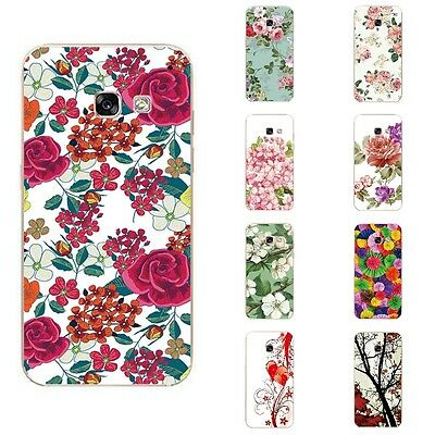 Case For Samsung Galaxy A3 2017 A320 Soft TPU Silicone Skin Back Cover Flowers