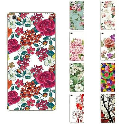 Cases For Huawei Ascend P8 Soft TPU Silicone Skins Back Covers Flowers