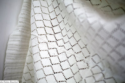 Vintage French knitted CROCHET coverlet cotton c1920