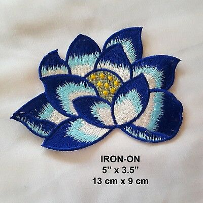 """Blue Peony Flower Embroidered Iron-on Emblem  5""""/13cm Floral Patch Applique"""