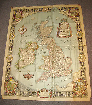 Rare A MODERN PILGRIM'S MAP OF THE BRITISH ISLES National Geographic June 1937