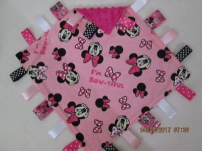 New Double  Minky Minnie Mouse Print/ Pink  Taggie, Security Blanket Baby Girl