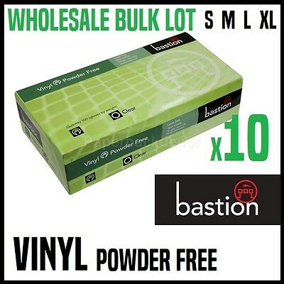 BULK 10x BASTION VINYL GLOVES DISPOSABLE KITCHEN CLEANING MEDICAL POWDER FREE