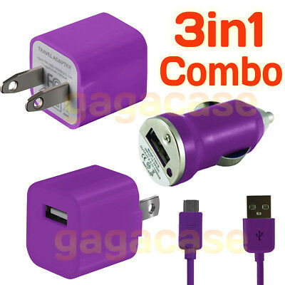 PU 3In1 Car Charger,Power Adapter &USB Cable Samsung Galaxy S3 S4 S5 S6 S7 edge