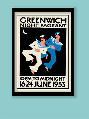 Art Deco Poster . London 1933 Greenwich Pageant Vintage Stamp A3 (30X40cm) Print