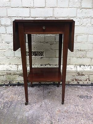 Edwardian Side Table Inlaid Mahogany Drop Leaf on Castors with Drawer Antique