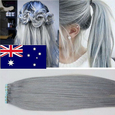 20/40pcs Remy Silver Grey Tape in Human Hair Extensions Seamless Hair Weft