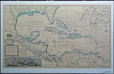 Herman Moll 1715 Vtg Gulf of Mex West Indies Caribbean Historic Urban Plans Map