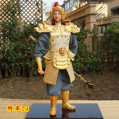 32cm tall Ancient Chinese Warrior Commander Figurine PU Leather Cloth Soldier-24