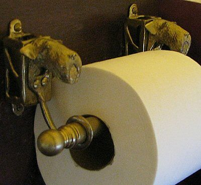 AIREDALE TERRIER Bronze Toilet Paper Holder OR Paper Towel Holder!