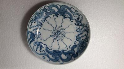 Antique Chinese Ming Dynasty/early Qing Blue White Dragons Porcelain Plate