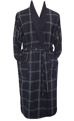 Mens Dressing Gown Marks & Spencer Black Checked Easy Care Robe Brand New