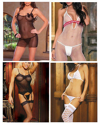 4-Piece Lingerie Set Black Babydoll Bustier White Bodystocking Stockings Set EH1