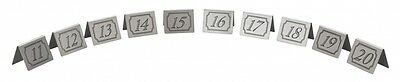 11-20 Stainless Steel Table Numbers -Great For Restaurant Bar Pub Cafe