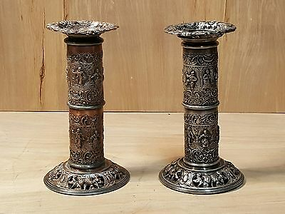"""Antique BARBOUR SILVER Co PAIR 6.5"""" CANDLESTICK Candle Holders REPOUSSE Design"""
