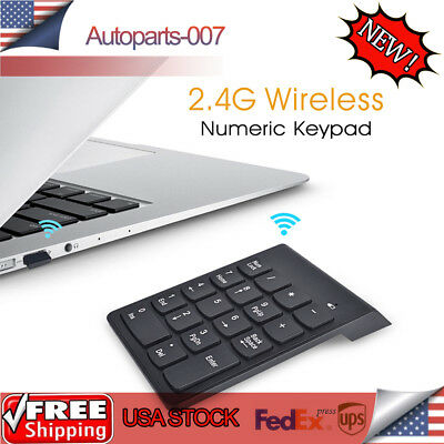 2.4GHz Wireless Number Pad Numeric Keyboard 18 Keys For Laptop Desktop PC Black