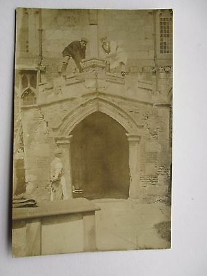 Stone Masons At Work On An Old Church - Location Unknown