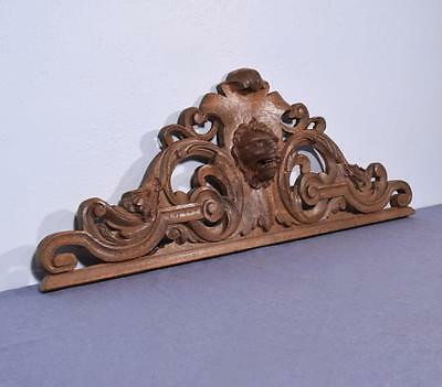 """*39"""" French Antique Pediment/Crest in Solid Oak Wood with a Lions Head"""