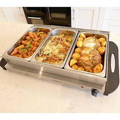 Buffet Server Warming Tray Electric Food Warmer 3-Pan Stainless Steel Kitchen