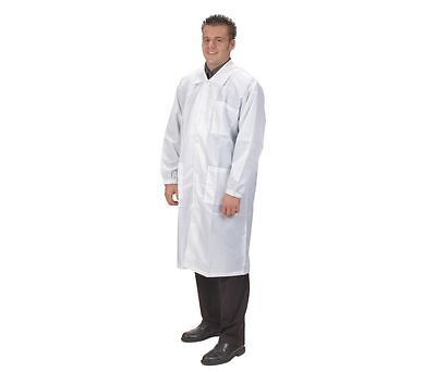 Condor Collared Lab Coat, Male, M, White/Black, 4TWD6, 4052LJ3P
