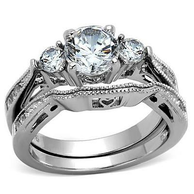 Womens stainless steel wedding ring set Size 10