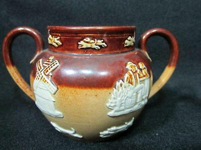 Antique Royal Doulton Lambeth Twin Handled Bowl Brown Stoneware Kt160A
