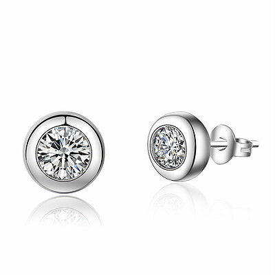 Simple Hot Fashion 925 Sterling Silver Inlaid Round Zircon Ear Stud Earrings