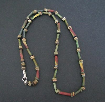 NILE  Ancient Egyptian Faience Mosaic Amulet Mummy Bead Necklace ca 600 BC