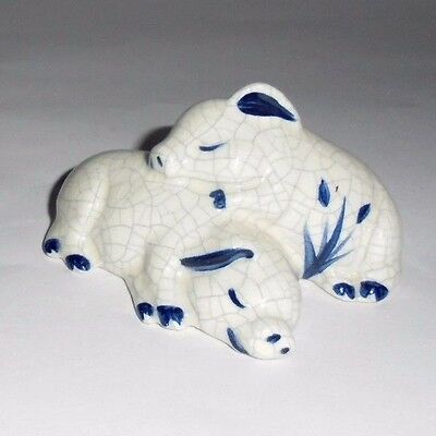 Dedham Pottery Shed Sleeping Pigs Figurine