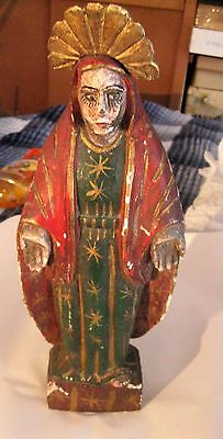 Vintage Carved Wood Santo Hand Painted Great Condition No Parts Missing