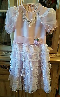 SLIP TOO! Vtg Merry Girl Party Dress Pink Frilly White Lace Ruffles Twirl Sz 10