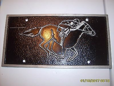 Old Vintage Grandview Indiana Aluminum Products Car Racehorse License Plate RARE