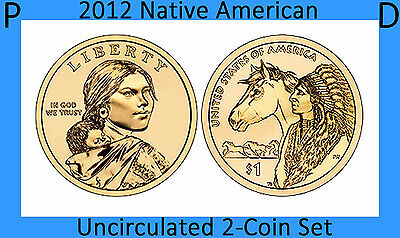 2012 P & D Native American Sacagawea Golden Small Dollars   2-Coins Uncirculated