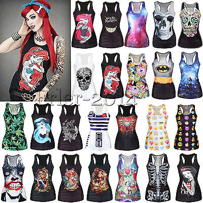 Womens 3D Printed Gothic Singlet Vest Tank Top Sleeveless Sretchy Blouse T-Shirt