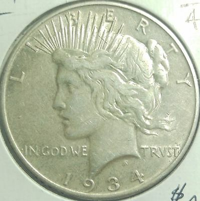 1934 D United States Better Date Peace Silver Dollar Nice #11