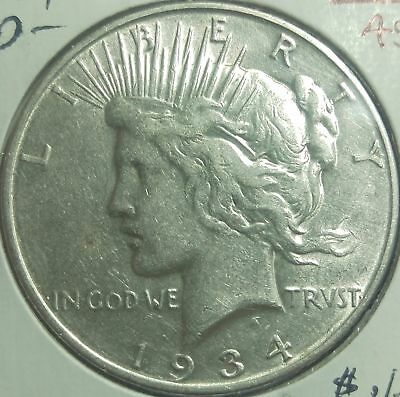 1934 D United States Better Date Peace Silver Dollar Nice #8
