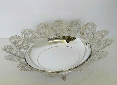 925 Sterling Silver Handmade Italian Floral Filigree Design Dish With Legs 93212