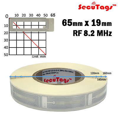 EAS CLEAR SILVER COSMETIC RF 8.2 MHz SOFT LABEL TAG 19X65MM CHECKPOINT 1000PCS