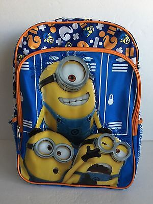 """New Despicable Me MINION Backpack 16"""" LARGE School Bag Books FREE SHIPPING NWT"""