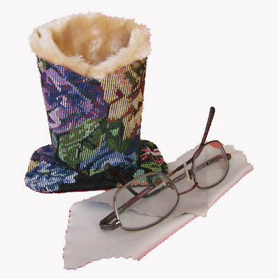 Dark Tapestry Plush Eyeglass Stand Holder w. Cleaning Cloth, Protect and Store