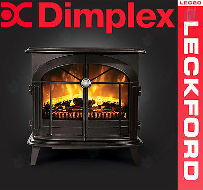 Dimplex Leckford Electric Flame Effect Stove in Matt Black, 2kW Heater